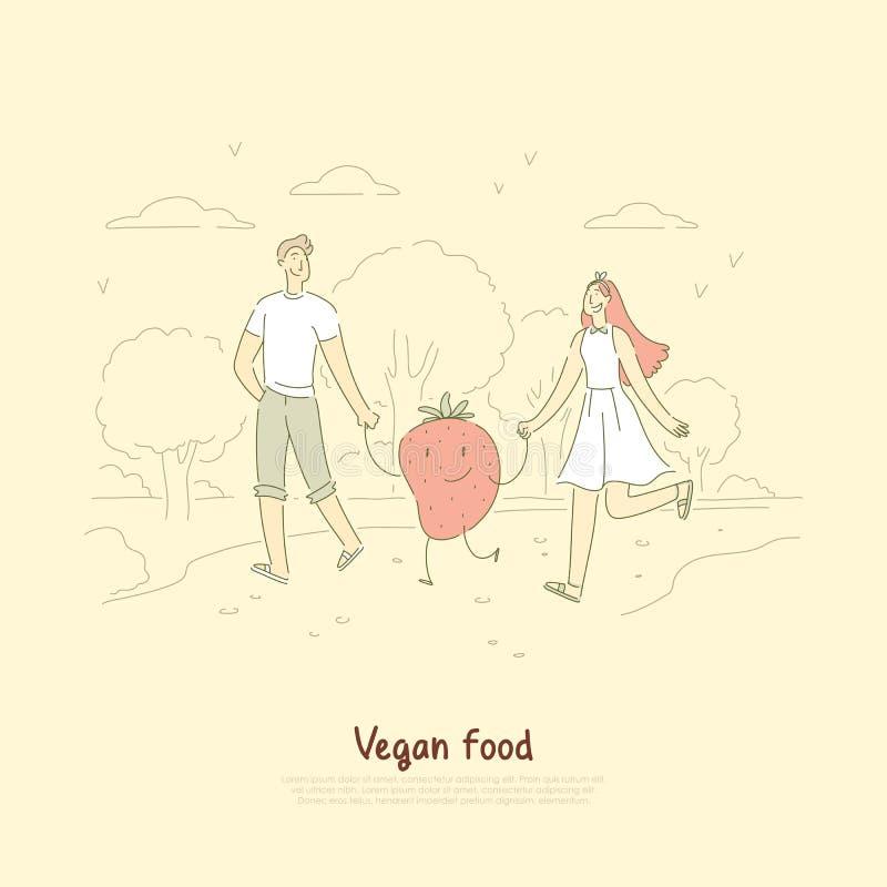 Jong veganistpaar, echtgenoot en vrouw op openluchtwandeling met leuke aardbei, surreal vegetarische levensstijlbanner royalty-vrije illustratie