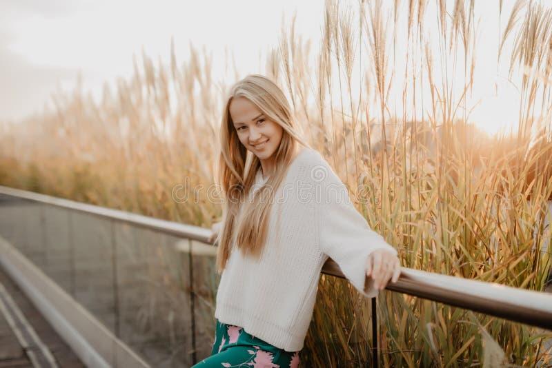 Jong vrij mooi meisje bij zonsondergang stock foto's