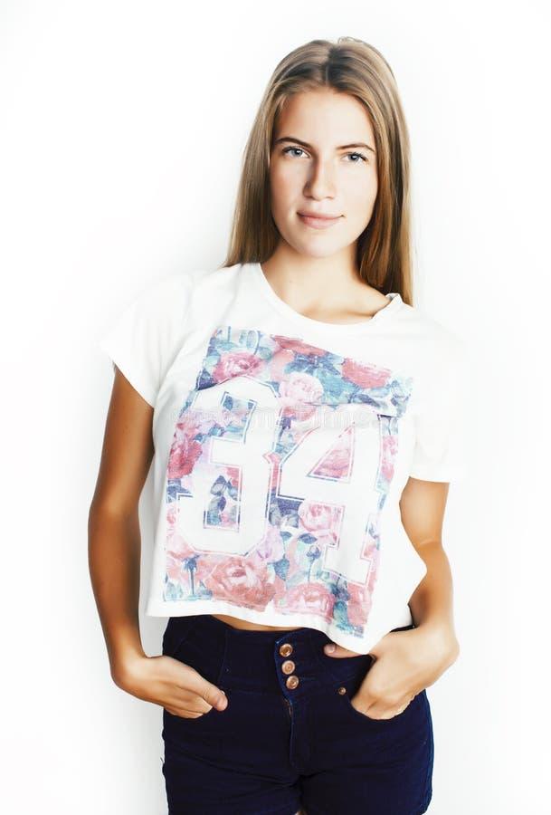 Jong vrij tienerhipstermeisje die het emotionele gelukkige dicht stellen omhoog glimlachen op witte achtergrond, het concept van  stock afbeeldingen