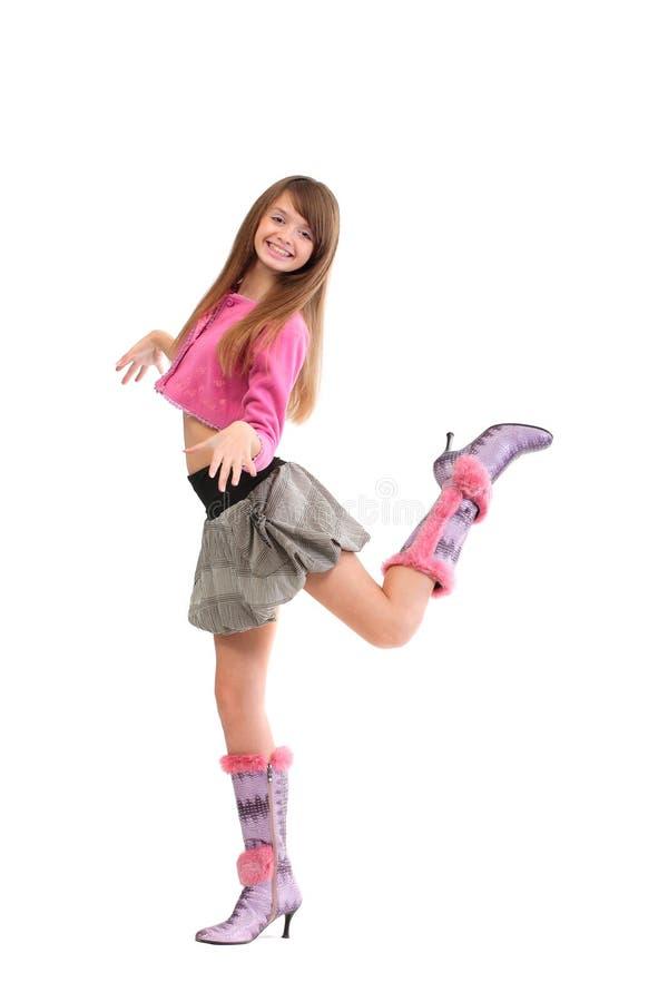 Jong vrolijk meisje op wit   stock afbeelding