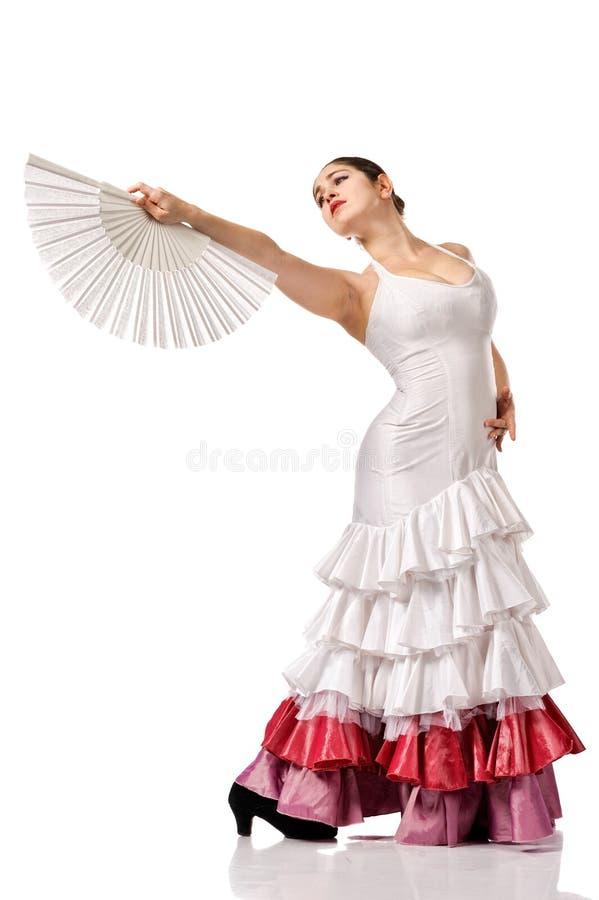 Jong vrouw het dansen flamenco royalty-vrije stock afbeeldingen