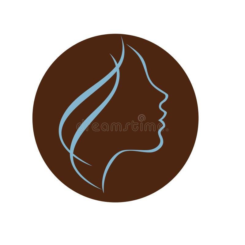 Jong vrouwen hoofdprofiel - stock illustratie