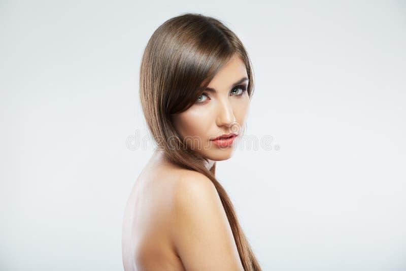 Jong Vrouwenportret De spruit van de de schoonheidsstudio van de close-up royalty-vrije stock afbeelding