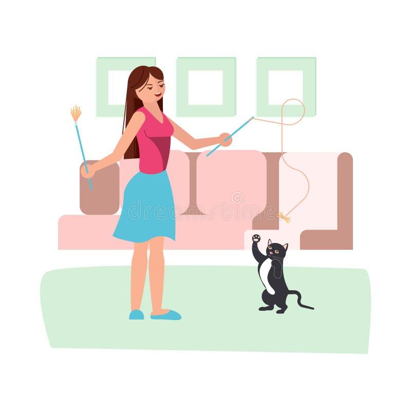 Jong vrouwenspel met haar zwarte kat stock illustratie