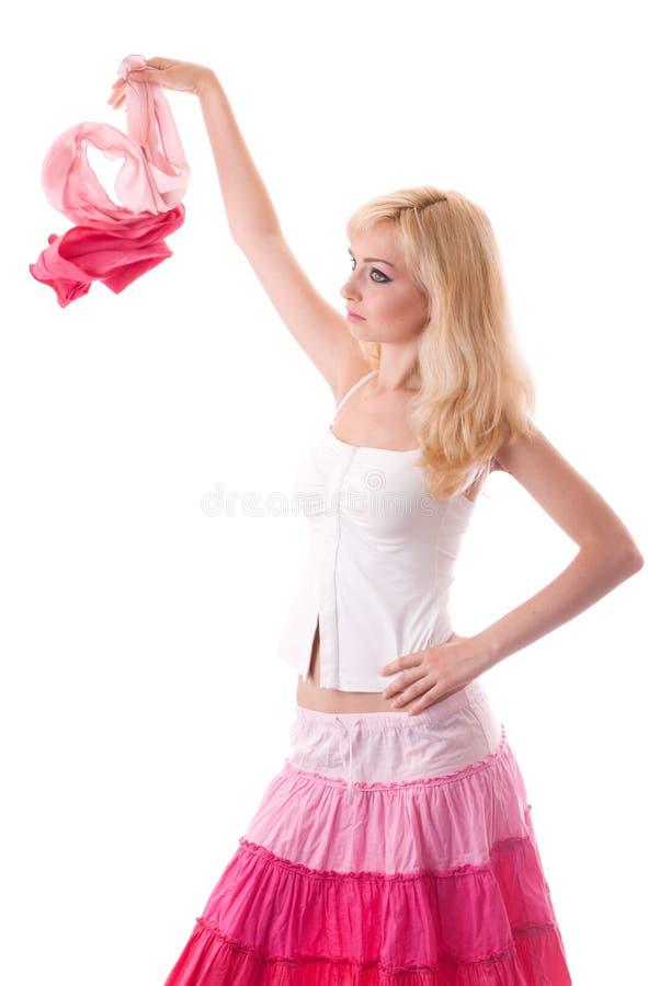 Jong vrouwenspel met lichte sjaal royalty-vrije stock foto's