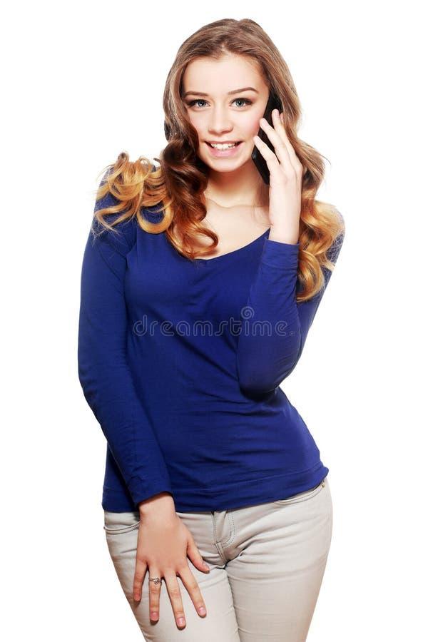 Jong vrouwentelefoongesprek stock afbeeldingen