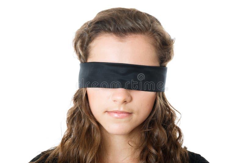 Jong wijfje met blinddoek royalty-vrije stock afbeelding