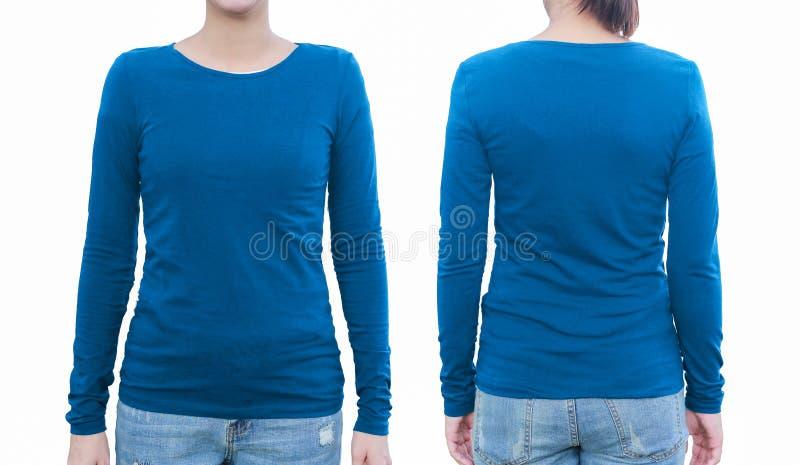 Jong wijfje met lege blauwe overhemd, voorzijde en rug Met clippin stock foto
