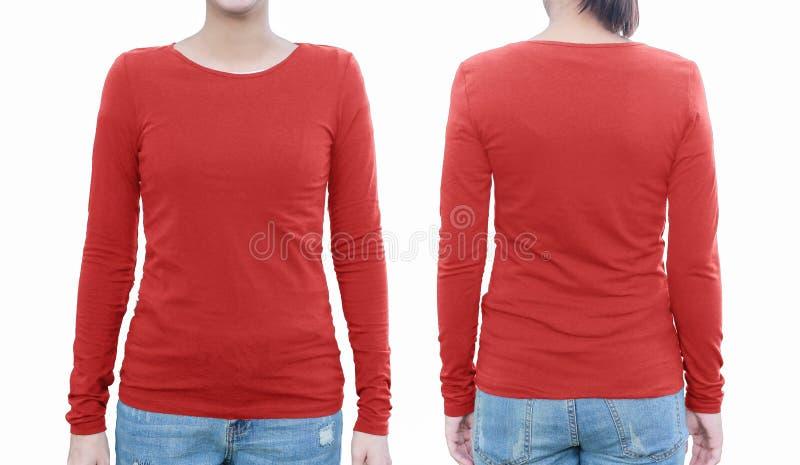 Jong wijfje met lege rode overhemd, voorzijde en rug met het knippen stock afbeeldingen