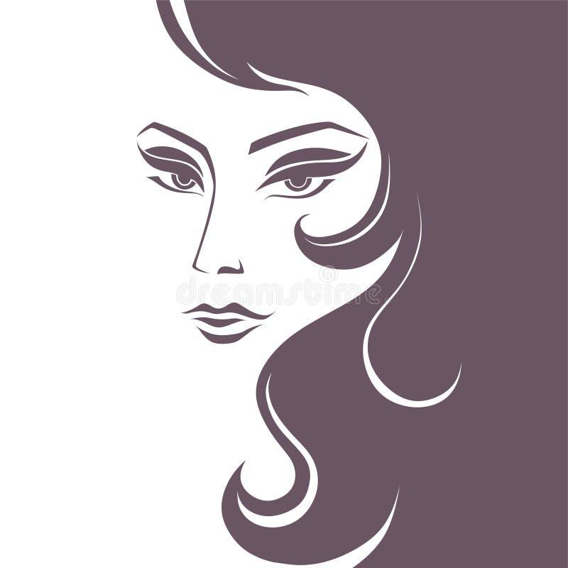 jong zeer mooi vrouwen zwart-wit beeld royalty-vrije illustratie