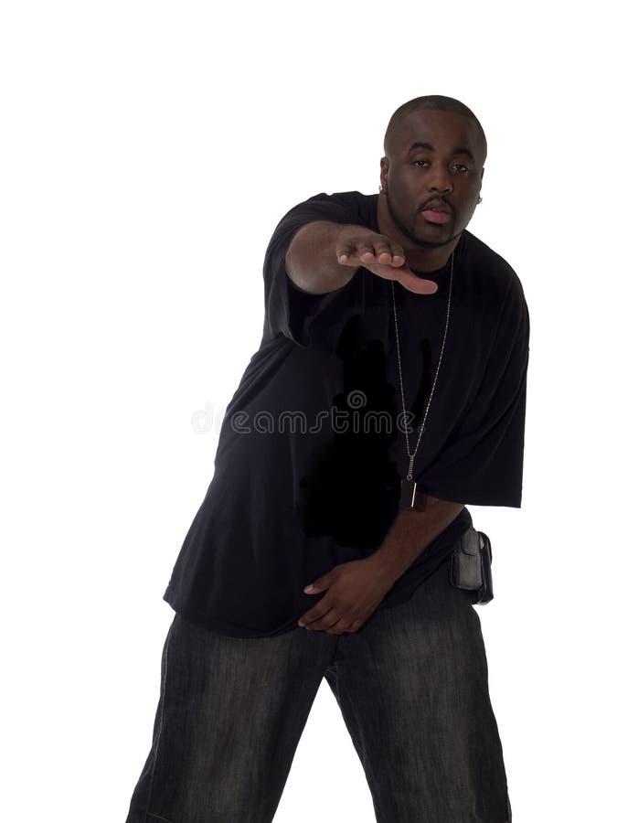 Jong Zwart Mens Uitgebreid Wapen royalty-vrije stock foto