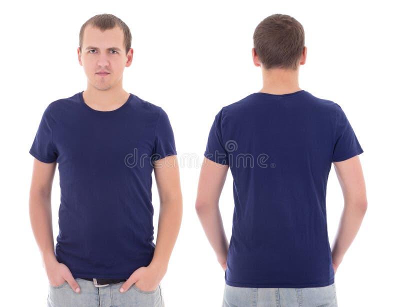 Jonge aantrekkelijke geïsoleerde mens in blauwe t-shirt royalty-vrije stock foto