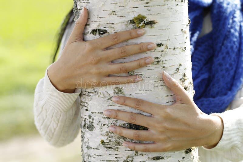 Jonge aantrekkelijke vrouw dicht bij een berkboom royalty-vrije stock foto's