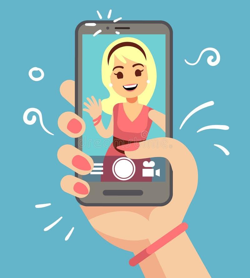 Jonge aantrekkelijke vrouw die selfie foto op smartphone nemen openlucht Mooi meisjesportret op het telefoonscherm beeldverhaal stock illustratie