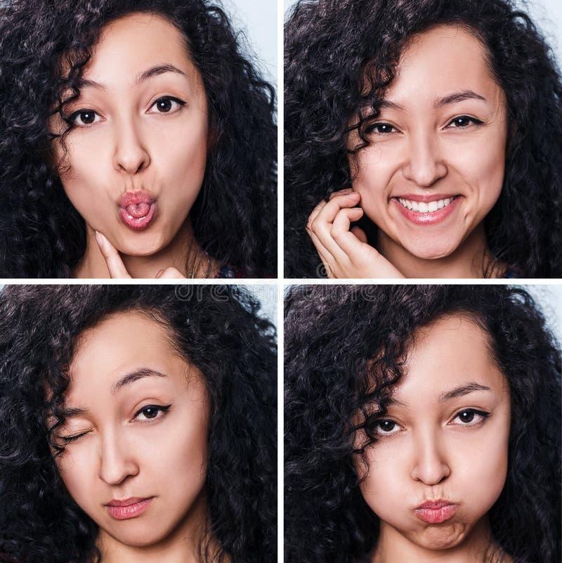 Jonge aantrekkelijke vrouw met verschillende emoties royalty-vrije stock foto's