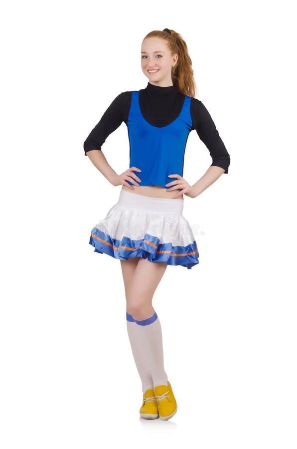 Jonge aardige cheerleader die op het wit wordt geïsoleerd royalty-vrije stock afbeelding
