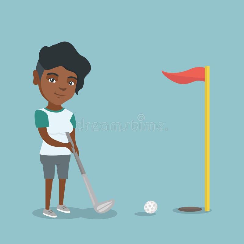 Jonge Afrikaans-Amerikaanse golfspeler die een bal raken royalty-vrije illustratie