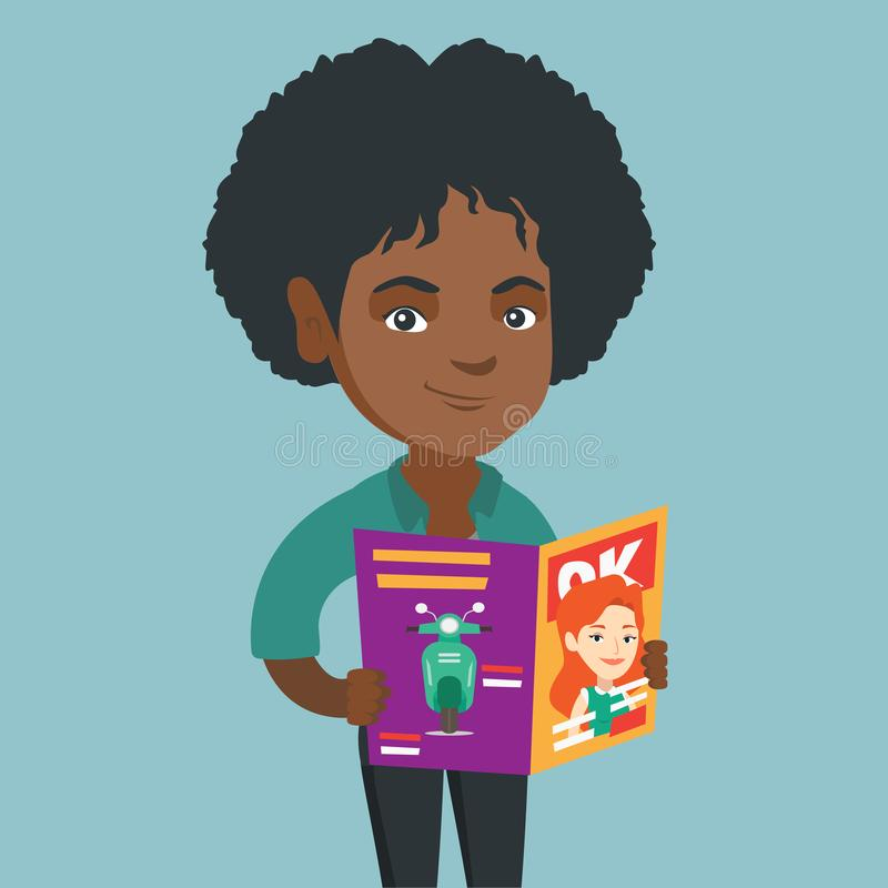 Jonge Afrikaans-Amerikaanse vrouw die een tijdschrift lezen stock illustratie