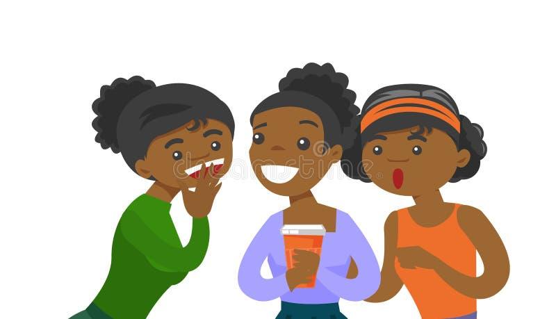 Jonge Afrikaans-Amerikaanse vrouwen die roddels delen stock illustratie