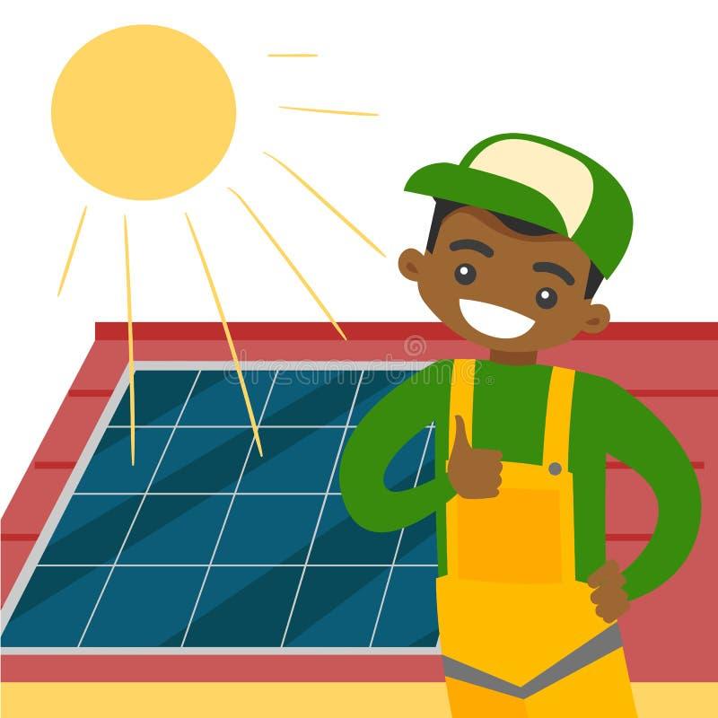 Jonge Afrikaanse aannemer die zonnepaneel installeren royalty-vrije illustratie