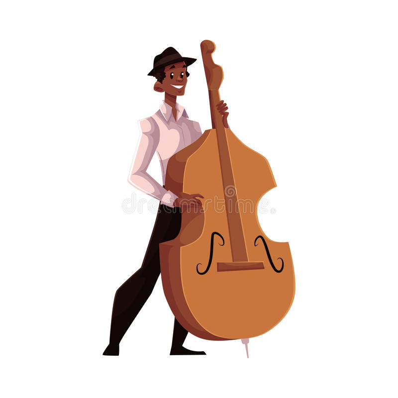 Jonge Afrikaanse Amerikaanse mannelijke contrabasspeler vector illustratie