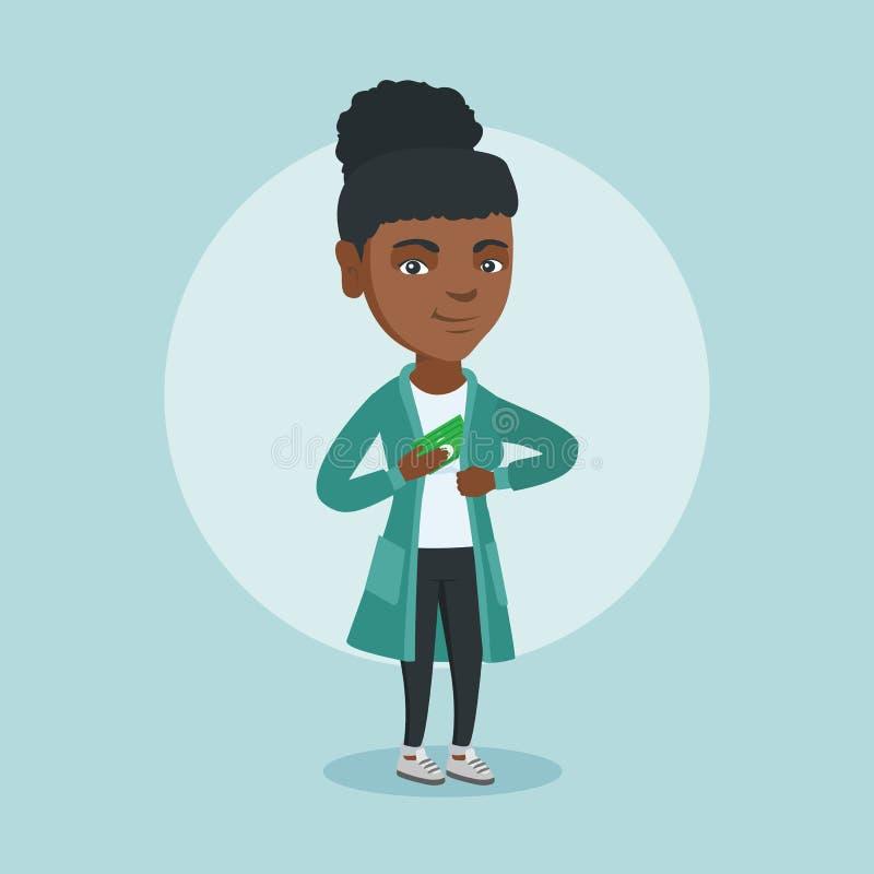 Jonge Afrikaanse uitvoerende verbergende steekpenning in zak royalty-vrije illustratie