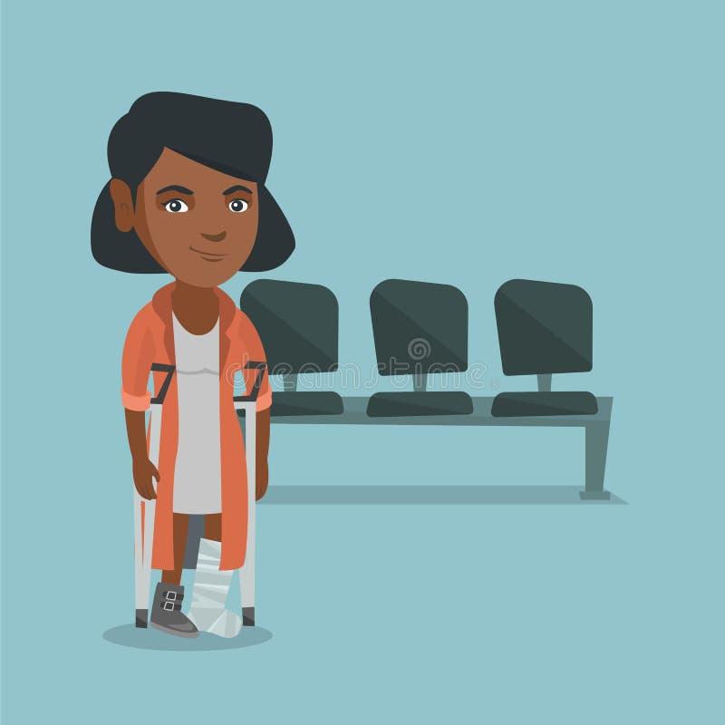 Jonge Afrikaanse vrouw met gebroken been en steunpilaren vector illustratie