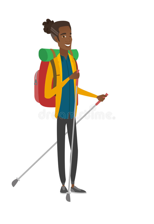Jonge Afrikaanse wandelaar die met trekkingsstokken lopen royalty-vrije illustratie