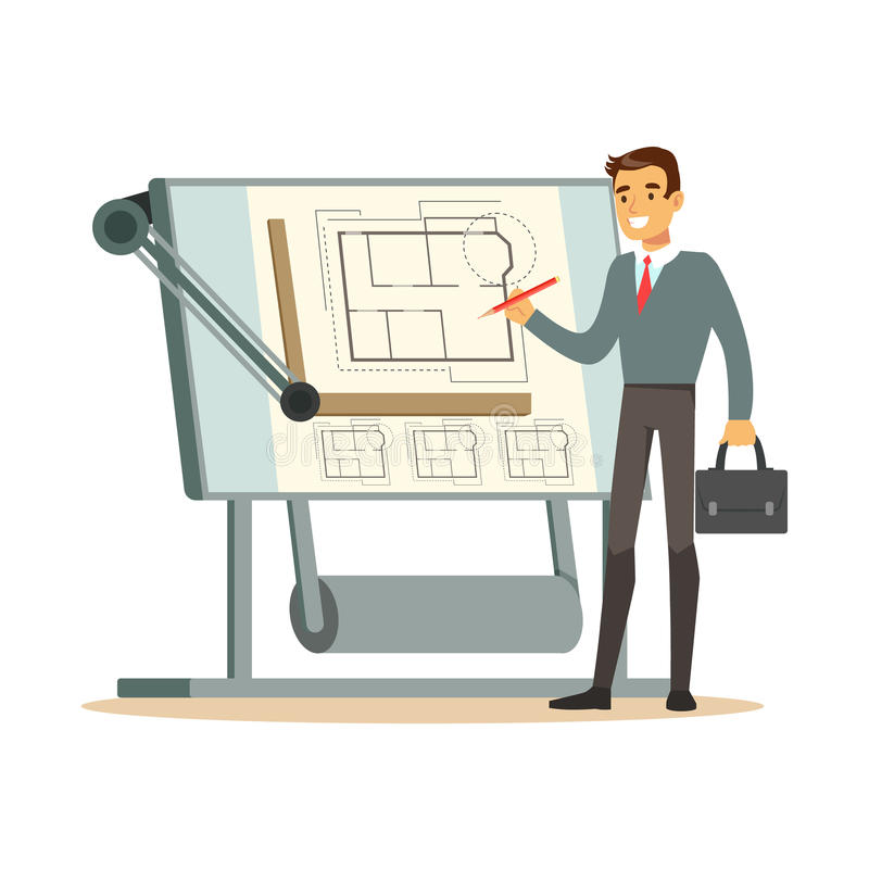 Jonge architect die aan zijn project op een tekenbord, kleurrijke karakter vectorillustratie werken vector illustratie