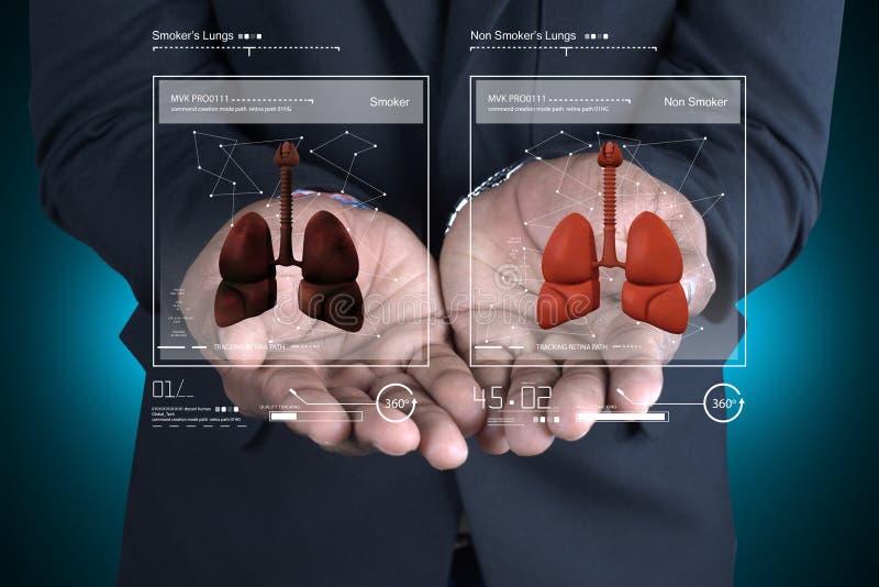 Jonge arts die longen tonen stock illustratie