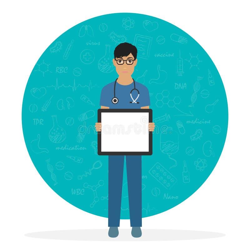 Jonge arts met glazen met leeg leeg aanplakbiljet stock illustratie