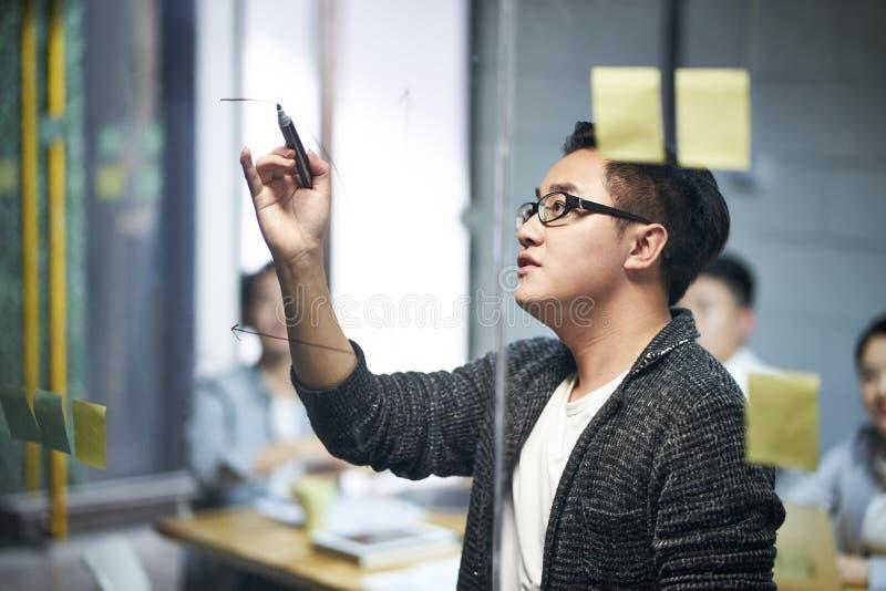 Jonge Aziatische commerciële teammensen die in bureau samenkomen stock fotografie