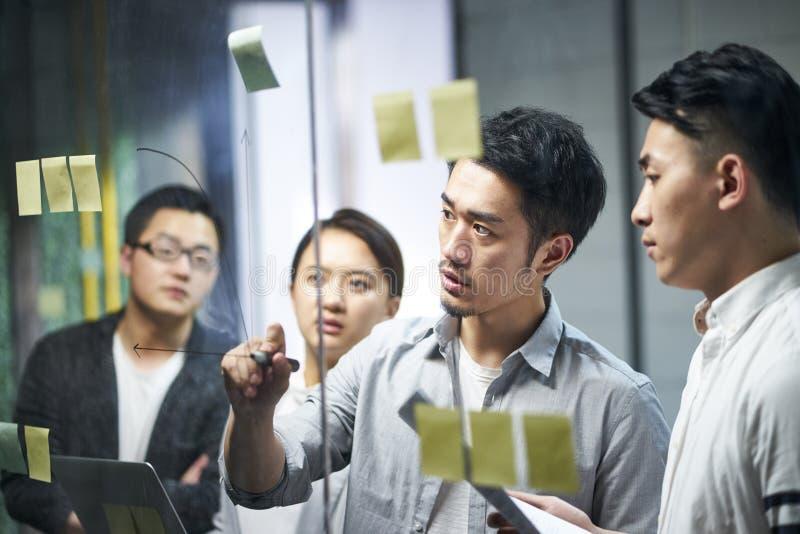 Jonge Aziatische commerciële teammensen die in bureau samenkomen royalty-vrije stock afbeeldingen