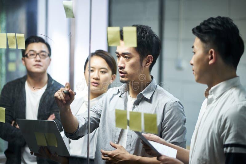 Jonge Aziatische commerciële teammensen die in bureau samenkomen stock afbeeldingen