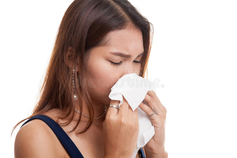 Jonge Aziatische vrouw gekregen ziek en griep stock foto's