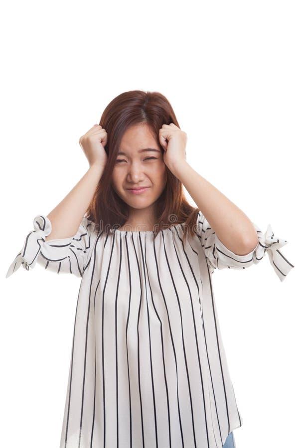 Jonge Aziatische vrouw gekregen ziek en hoofdpijn royalty-vrije stock foto's