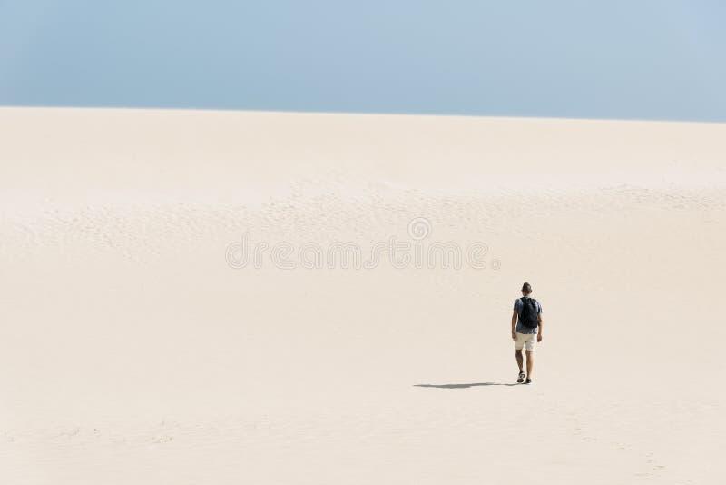 Jonge backpackermens die door de woestijn lopen royalty-vrije stock fotografie