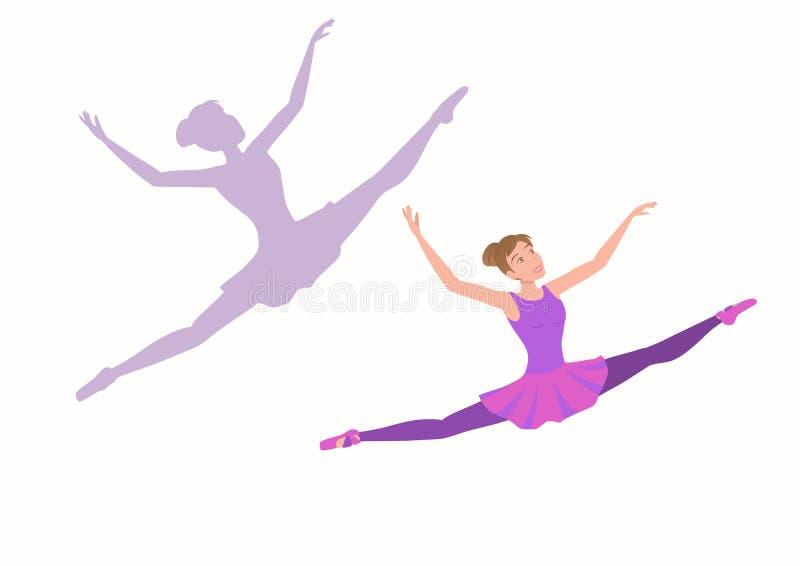 Jonge ballerina die hoog en ver met plezier in het gezicht vliegen stock illustratie