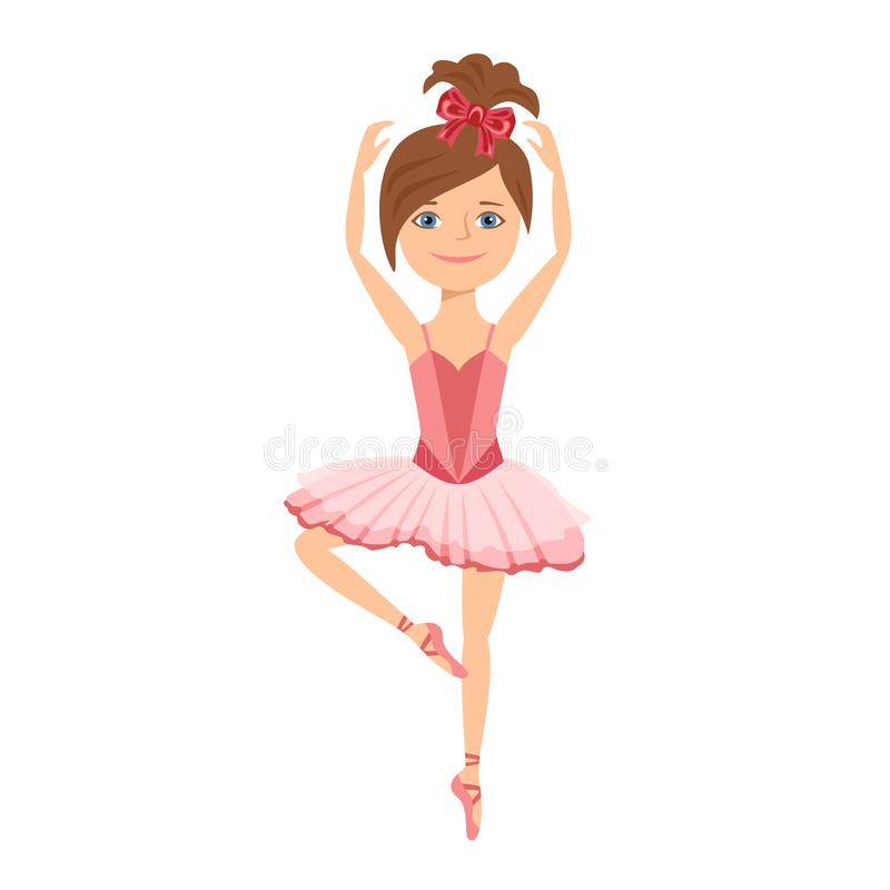 Jonge ballerina in roze die kleding op witte achtergrond wordt geïsoleerd royalty-vrije illustratie