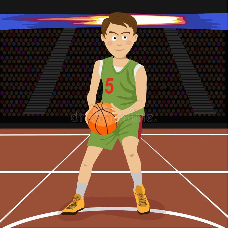 Jonge basketbalspeler op grote professionele arena tijdens het spel Gespannen ogenblik van het spel stock afbeelding