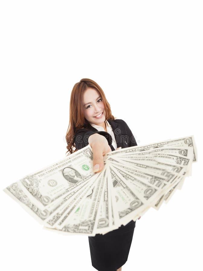 Jonge bedrijfsvrouw die het geld tonen royalty-vrije stock foto
