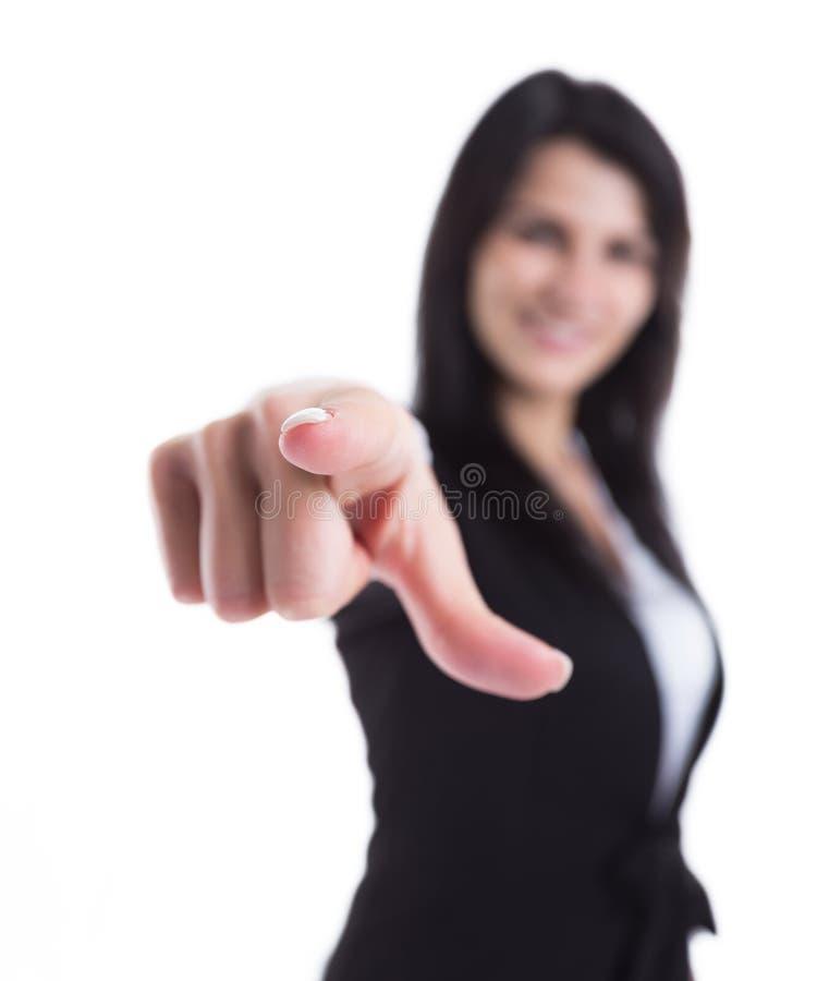 Jonge bedrijfsvrouw die op u richten Het concept keus stock foto's