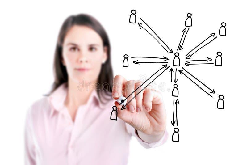 Jonge bedrijfsvrouw die sociale netwerkstructuur, witte achtergrond trekken. stock afbeeldingen