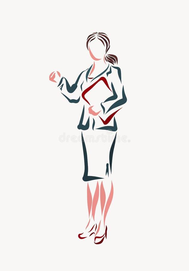 Jonge bedrijfsvrouw in een klassiek kostuum met een omslag van document stock illustratie