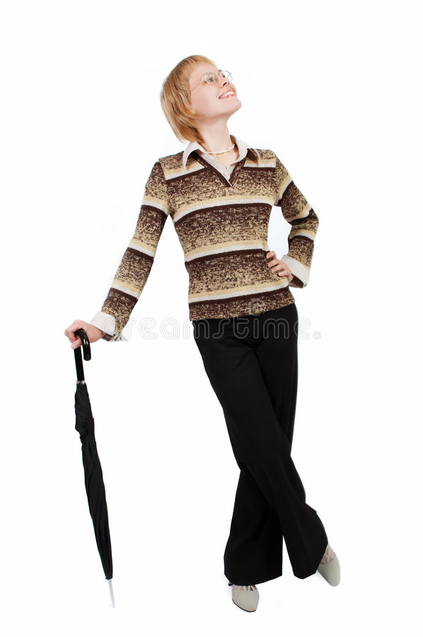 Jonge bedrijfsvrouw op wit met paraplu stock fotografie
