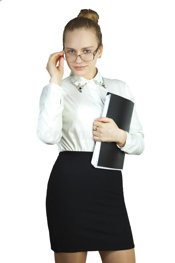 Jonge bedrijfsvrouw op witte achtergrond royalty-vrije stock fotografie