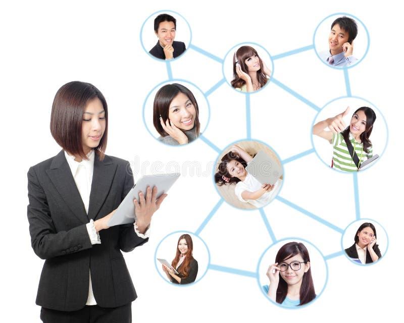 Jonge bedrijfsvrouw in sociaal netwerk royalty-vrije stock foto