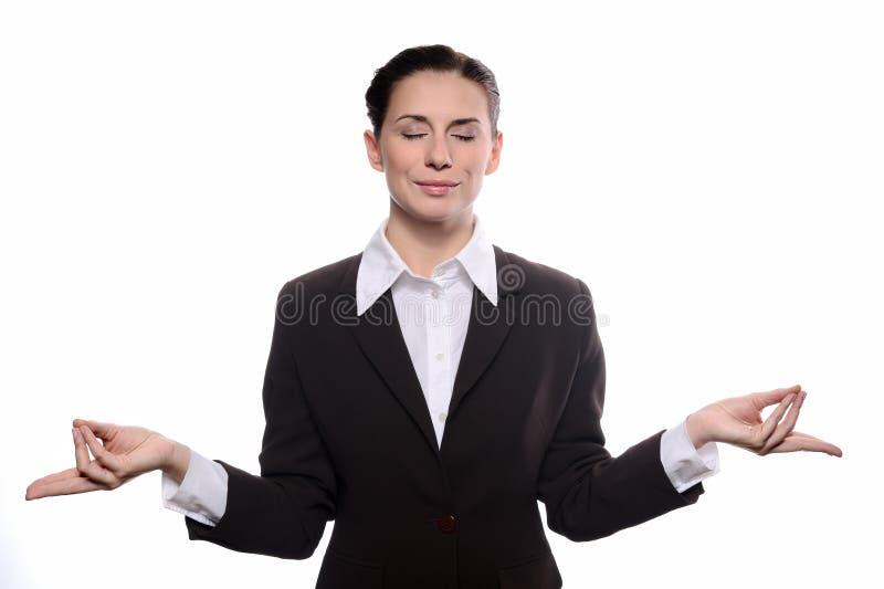 Jonge bedrijfsvrouwenvrouw in meditatie royalty-vrije stock afbeelding