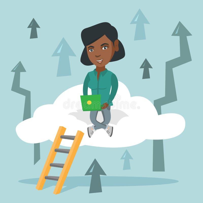 Jonge bedrijfsvrouwenzitting op wolk met laptop stock illustratie