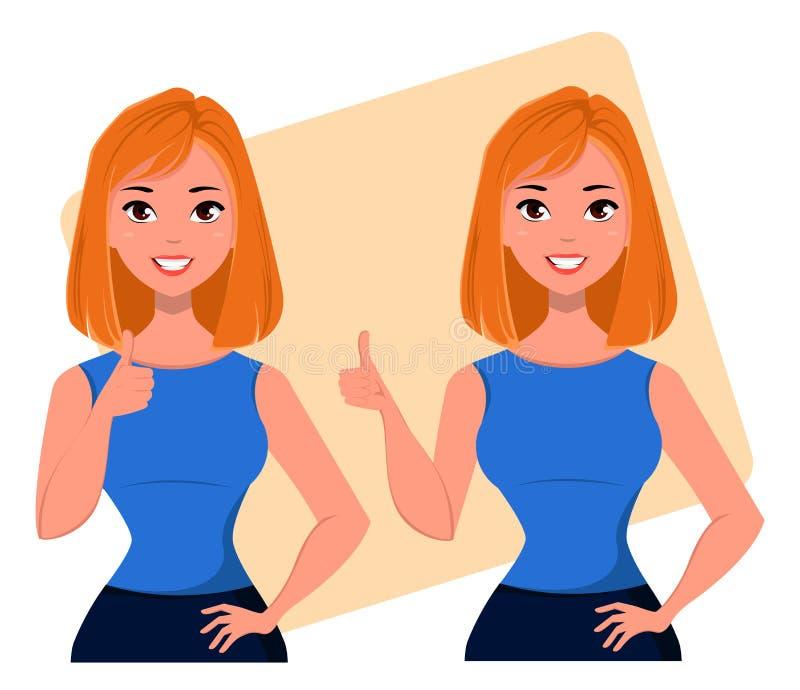 Jonge beeldverhaalonderneemster die duim op gebaar tonen, die bedrijfsidee, succesvol startproject goedkeuren Mooie bedrijfsvrouw stock illustratie
